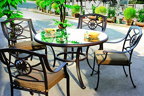 Darlee Ten Star Cast Aluminum 5 Piece Series 50 Glass Top Dining Table Set with Seat Cushions, 48″, Antique Bronze Finish