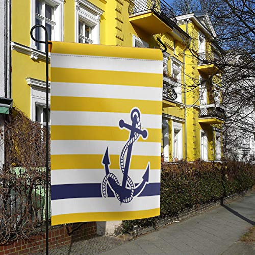 (Luck Sky Welcome Banner - Navy Blue Nautical Anchor with Yellow and White Stripe Pattern Garden Flag Vertical Double Sided Yard Outdoor Decorative - 28 x 40 Inch)