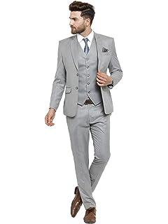 d18bcdd1e9e LUXURAZI Men s Grey Raymond Sapphire Terry Wool 3 Piece Suit  Amazon ...