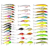 Isafish Minnow Lure Kit Pack of 43pcs Assorted Crankbait Tackle Mixed Bass Fishing Lures with Hook Set