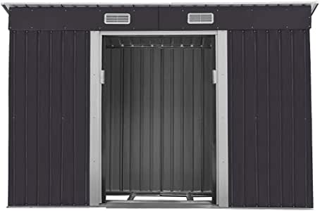 Outdoor Steel Garden Shed Garden Utility Tool Storage Backyard Lawn Building Garage Shed Sliding Door 4.2' x 9.1' Black