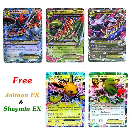 New Mega Cards EX Sceptile - Scizor - Latois with Free Jolteon - Shaymin EX Trading Card Games each Cards under 5 Dollars with Box and Cards Sleeve Fast Shipping (Costume Collection Promo Code)