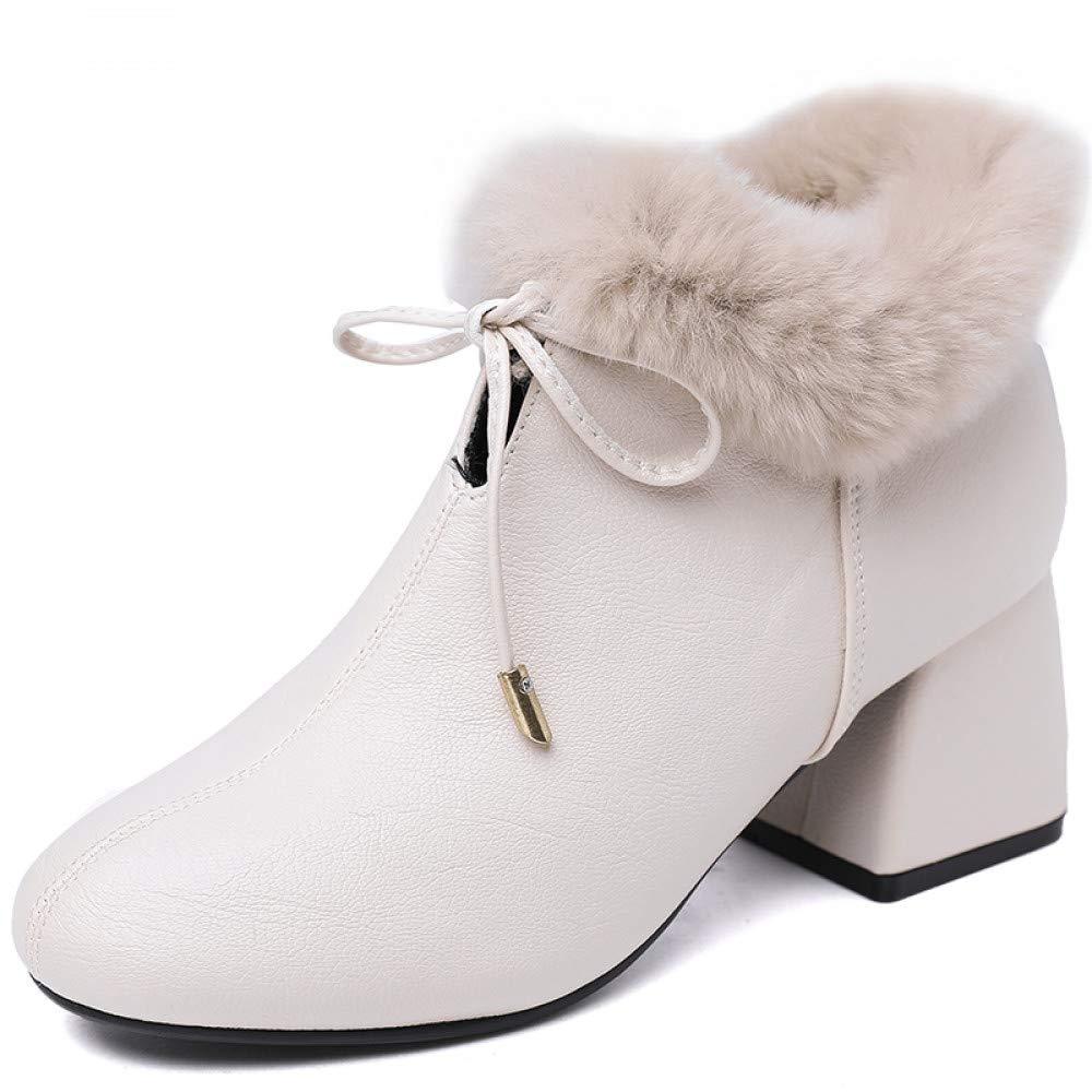 Qingchunhuangtang Bow dick mit Stiefeletten weibliche Herbst und Winter Verdickung Schuhe dünne dünne Stiefel Wilde hochhackige Stiefel