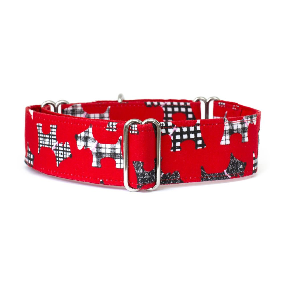 Large 1.5\ Noddy & Sweets Martingale Collar 1.5  Width [Scotties Red] Large