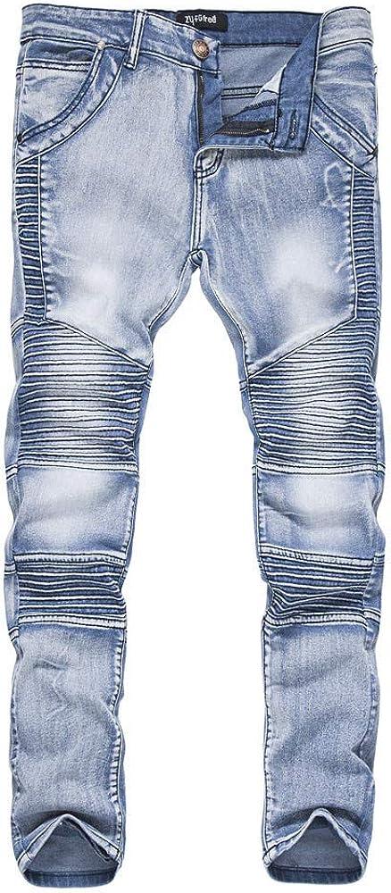 CFWL Pantalones de otoño e Invierno Jeans Plisados para Hombres Pantalones para Hombres Boxeo Pantalones Bombachos Pantalones Bombachos Hombre Pantalones Boyfriend Mujer Pantalones Blancos Hombre