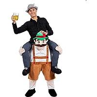 Hot 7scelte birra bavarese Guy Ride On Mascot spalle carry me Oktoberfest Costume Novelties Leprechaun Costume, Beerman