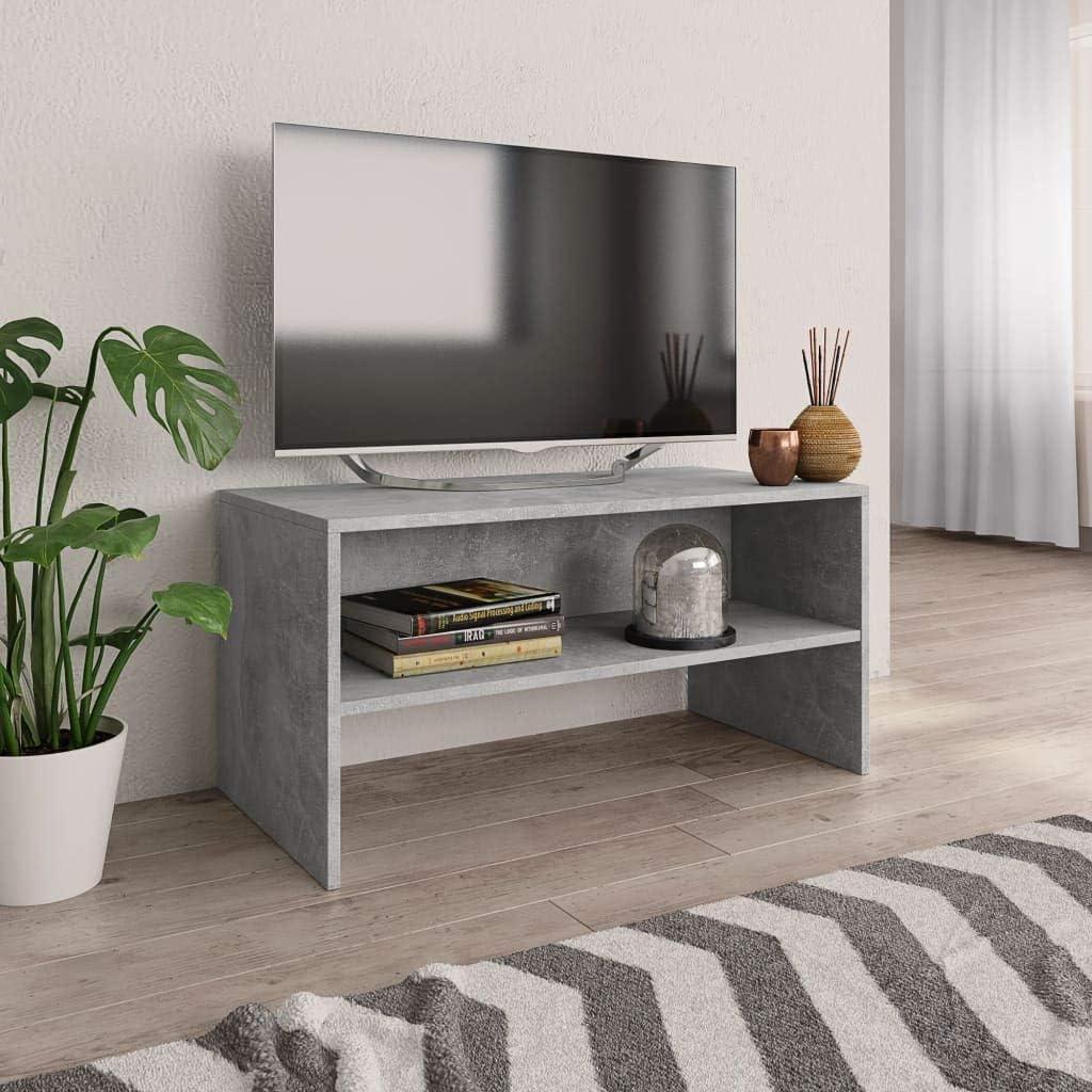 vidaXL Mueble TV Estante Mesa Baja Televisión Aparador Televisor Módulo Diseño Simple Compartimento Comedor Salón Cuarto Aglomerado Color Gris Cemento