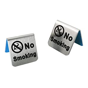 RLECS 2pcs Stainless Steel No Smoking Table Signs for Non-Smoking Hotels, Restaurants, Clubs, Offices and Hospitals