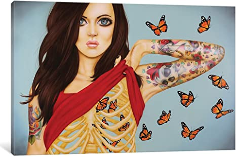 Amazon Com Icanvasart Icanvas You Give Me Butterflies Gallery Wrapped Canvas Art Print By Scott Rohlfs 40 X 26 Posters Prints