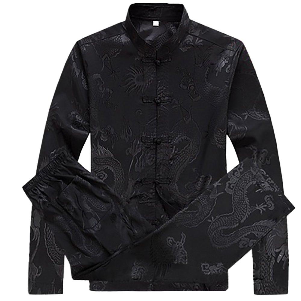 KIKIGOAL Mens Martial Arts Kung Fu Uniform Long Sleeve Tang Suit With Dargon Pattern (XXXL, black)