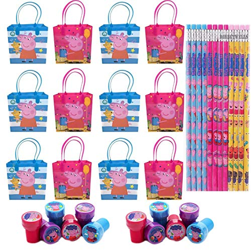 12pcs Peppa Pig Party Favor Goodie Gift Bags Birthday w/ 12pc Pencil+Stampers