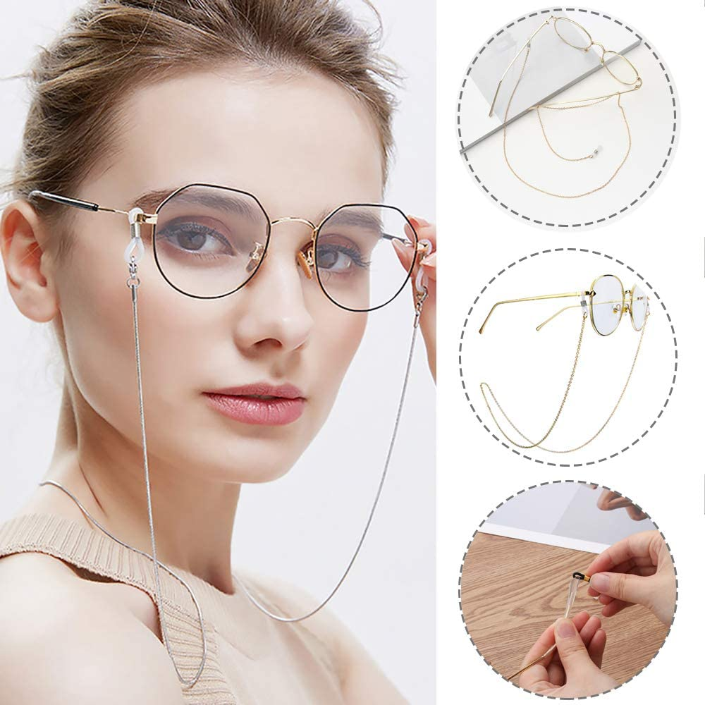 100PCS Eyeglass Chain Ends Eyeglass Rubber Connectors Black and Translucent White Anti-Slip Chain Ends Adjustable for Eyeglasses Chain Eyeglasses Holder