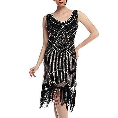 Damen Kleid Vintage 1920er Perlen Quasten Party Nacht Hem Flapper ...