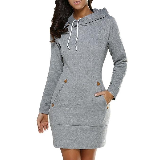 Amazon.com: Honghu Womens Plus Size Long Sleeve Tunic Sweatshirt Dress with Pockets: Clothing
