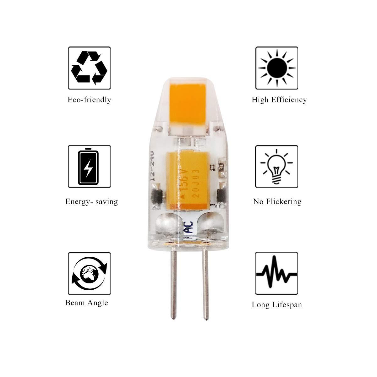 ZHENMING G4 LED Bulb Bin-pin Light Bulb 3W AC//DC 12V 340 Lumens Warm White 3000K Pack of 10 30W Halogen Equivalent