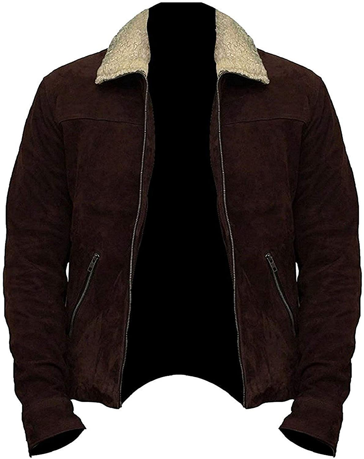 Mens Brown Suede Real Leather Jacket