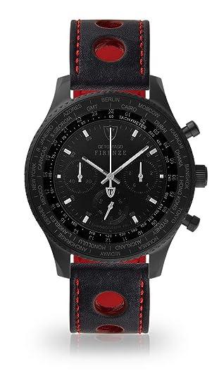 DETOMASO Firenze XXL Reloj Caballero Cronógrafo Analógico Cuarzo Negro Correa de Piel Punto Rojo y Esfera Negra DT1045-D-836: Amazon.es: Relojes