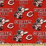 MLB Fleece Cincinnati Reds Toss White/Red Fabric By The Yard