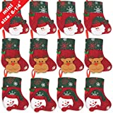 "Ivenf 12 Pack 6-1/4"" 3D Mini Christmas Stockings, Santa Snowman Gift Card Silverware Holders, Bulk Treats for Neighbors Coworkers Kids Cats Dogs, Small Rustic Felt Red Xmas Tree Decorations Set"
