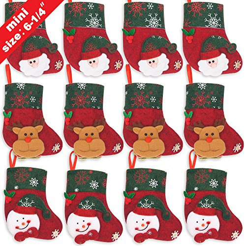 Ivenf 12 Pack 6-1/4 3D Mini Christmas Stockings, Santa Snowman Gift Card Silverware Holders, Bulk Treats for Neighbors Coworkers Kids Cats Dogs, Small Rustic Felt Red Xmas Tree Decorations Set for $<!--$12.99-->