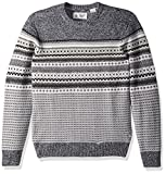 Original Penguin Men's Engineered Fairisle Crew Sweater, True Black, Extra Large