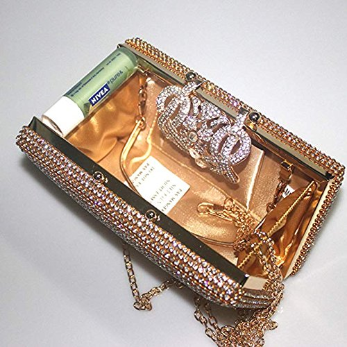 Crystal Prom Gold Bridal Gold Clutch Party Encrusted bag Diamante Evening Purse Dazzling UdpvnxBwqU