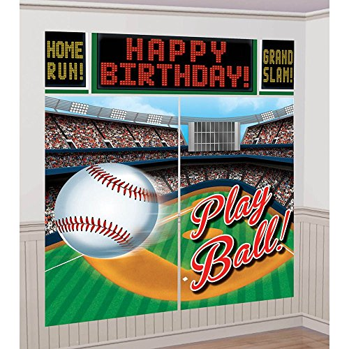 Baseball Scene Setter Wall Decorating Kit (Each) (Baseball Cutout)