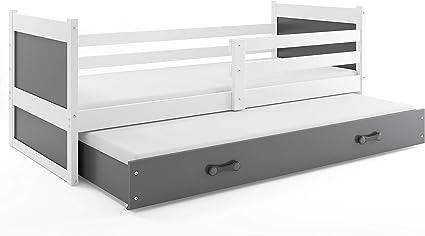 Cama nido RICO, 200x90, color blanco, (colchones 200x90 y 190x80 gratis!) somieres y cajón incluidos! paneles GRIS