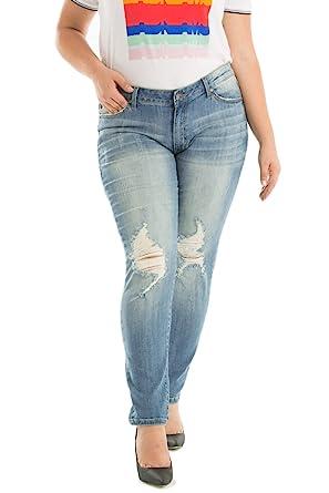 01ae6ad681 KanCan Plus Size Jeans Chanel-Yaretzi Mid-Rise Distressed Medium Light Wash Skinny  Jeans