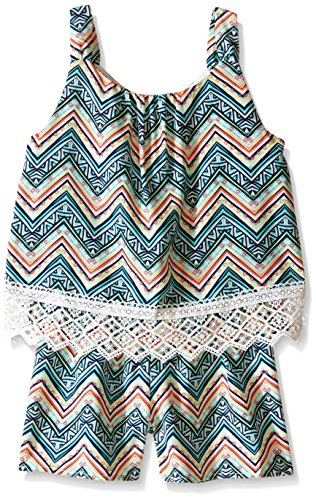 My Michelle Big Girls' All Over Printed Popover Romper Lace Hem Detail, Multi, Large (Michelle Clothes My)