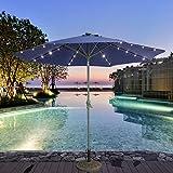 Caymus 10 Ft LED Light Solar Patio Outdoor Market Aluminum Umbrella with Push Button,Navy Blue