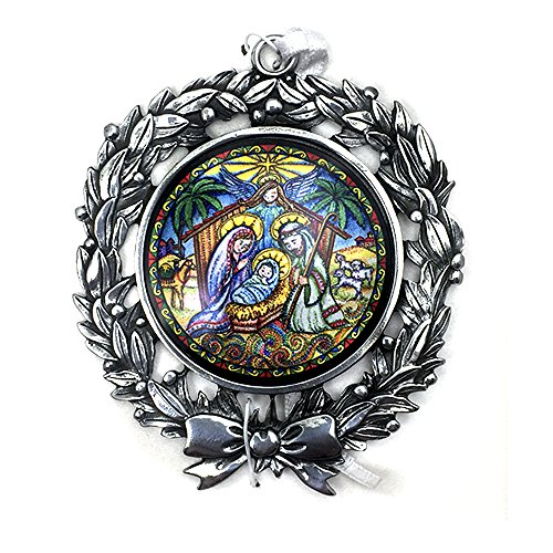 CA Nativity Scene Christmas Tree Ornament. Silver Metal Wreath Hanging Ornament with Beautiful Full Color Nativity Painting in The Center -