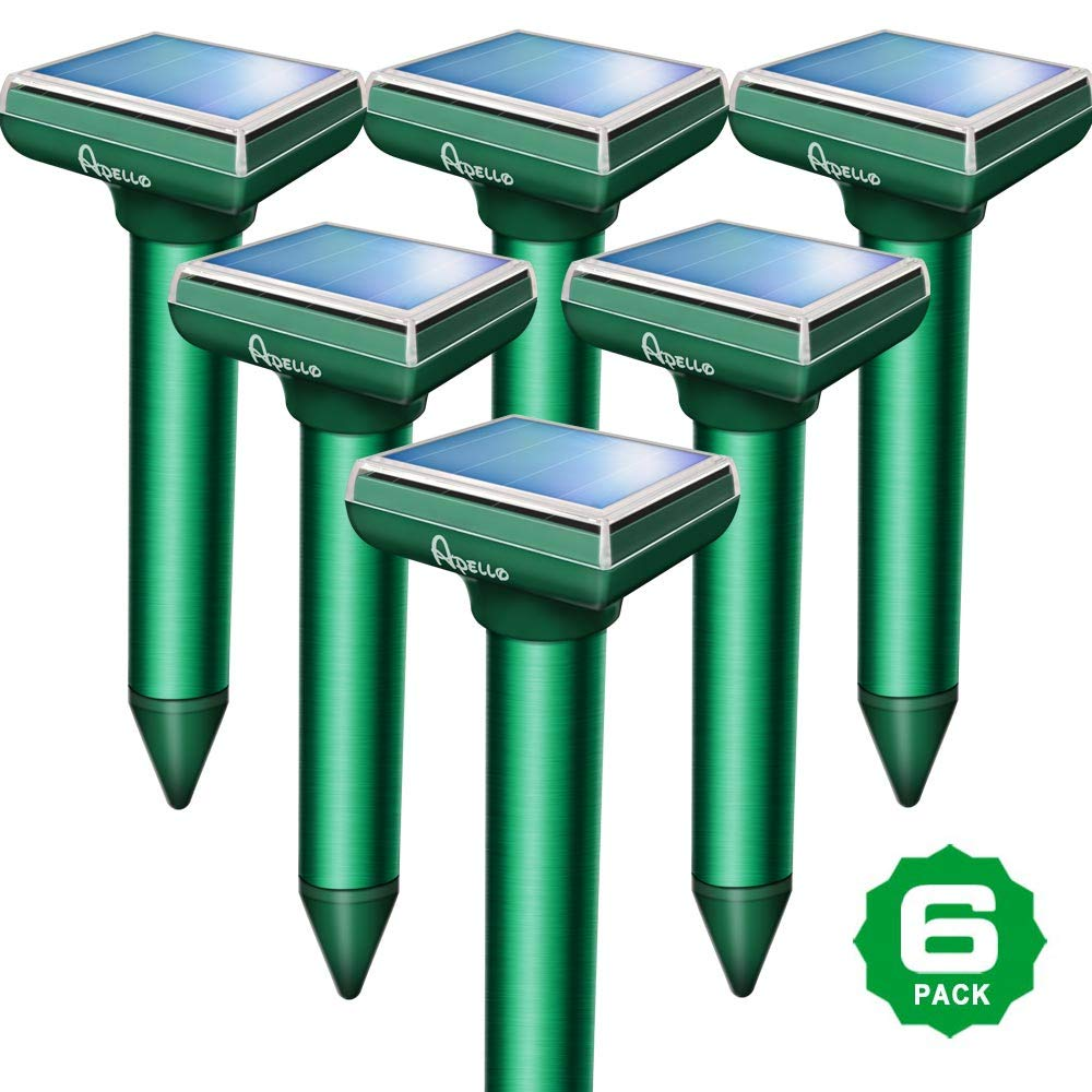 Apello Pack of 6 Mole Repellent Mole Repeller Solar Powered Gopher Repellent Ultrasonic Vole Repellant Gopher Repellent Rodent Deterrent No Harm Like Gopher Traps Mole Killer Poison to Your Yard