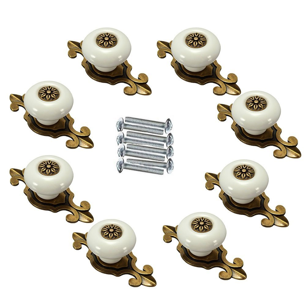FirstDecor 8pcs Retro Ceramic Knobs/Handles/Pulls with Zinc Alloy Base for Kitchen Cabinets,Cupboards,Wardrobe,Drawer,Dresser,Closet,Bookcase,Bar Cabinet etc .(Bronze+White)