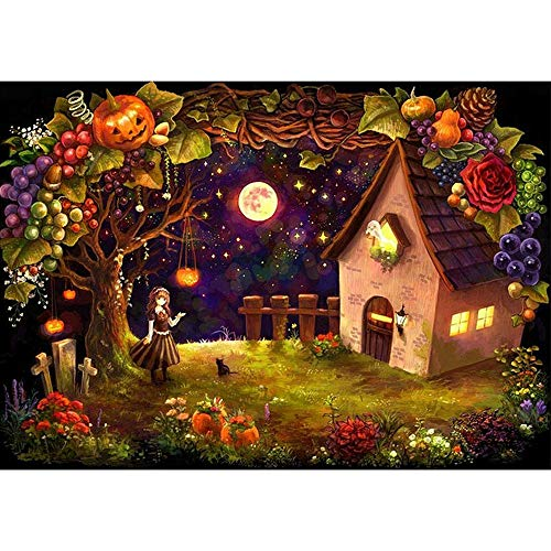 Franterd DIY 5D Diamond Painting Increase Family Fun Relationship Embroidery Rhinestone Pasted Cross Stitch Handcraft 30X40cm Halloween Cat Girl Pumpkin Wall Decor ()