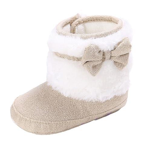Zapatos Bebe Niña Bautizo, Zolimx Bowknot Zapatos Primeros Pasos para Bebé Mantener Caliente Suela Suave Nieve Botas Cuna 2018 Invierno Zapatos Botas de ...