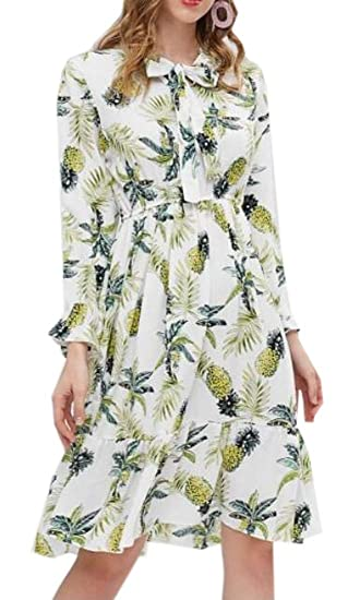 c89c06d83cf FSSE Women Slim Long Sleeve Pineapple Print Casual Pleated Midi Dress at  Amazon Women s Clothing store