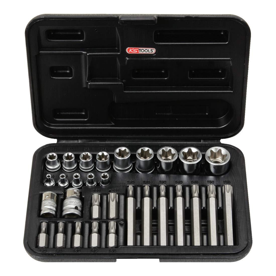 KS TOOLS 911.4301-2 Coffret de douilles et d'embouts KS, 14 TORX percé , 30 mm et 75 mm, 30 piè ces 14 TORX percé 30 pièces 4042146053300