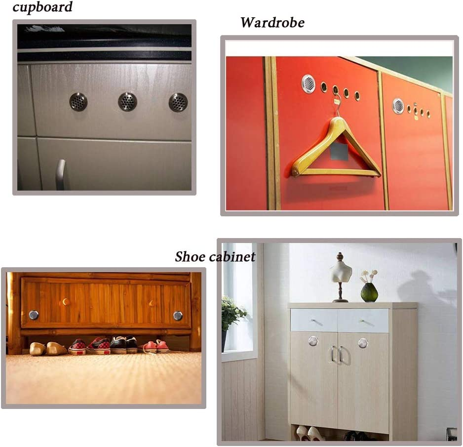30 St/ück Goodchanceuk Schrank-L/üftungs/öffnung runde Form silberfarben perforierte L/üftungsschlitze Edelstahl f/ür Kleiderschrank oder Schuhschrank