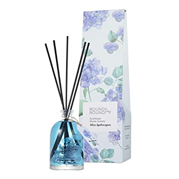 Round A Round Dryflower Room Scents 145ml Perfumed Reed Diffuser For Home And Room Fragrant Homes Rooms Office Bathroom Living Room Blue Hydrangea Amazon In Beauty