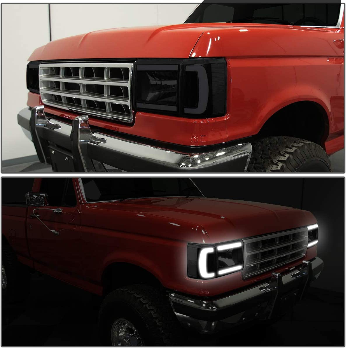 DNA Motoring HL-LB-F15087-BK-SM-CL1 Pair LED DRL Headlight Corner Lamps For 1987-1991 Ford Bronco F-150 F-250 F-350,Black Smoked Clear