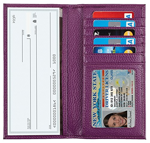NapaWalli Genuine Leather Checkbook Cover For Men & Women Card Holder Wallet RFID Blocking(pebble purple)