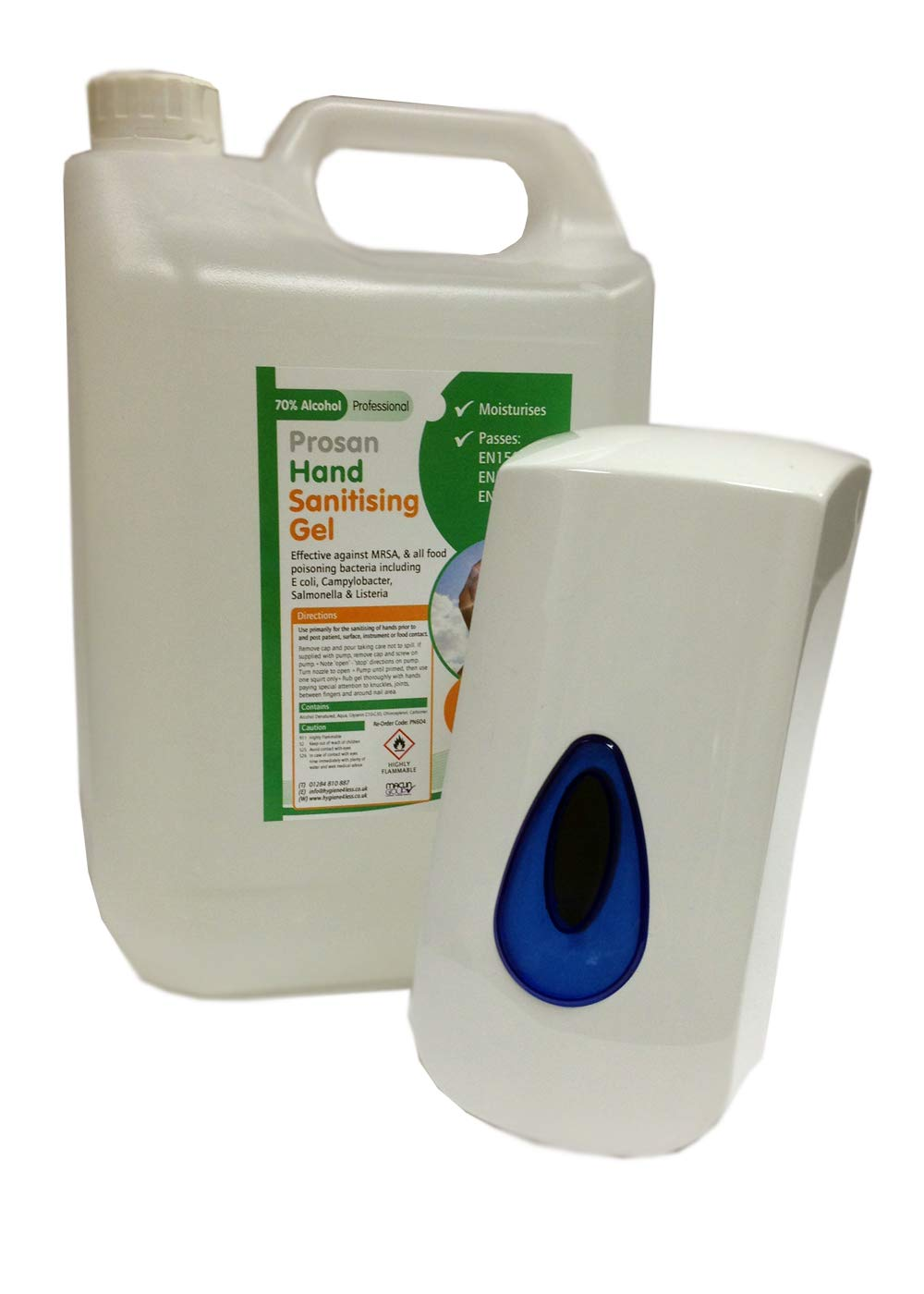 5 Litres Alcohol Hand Sanitising Gel With 400ml Brightwell Wall Mounted Dispenser Maclin