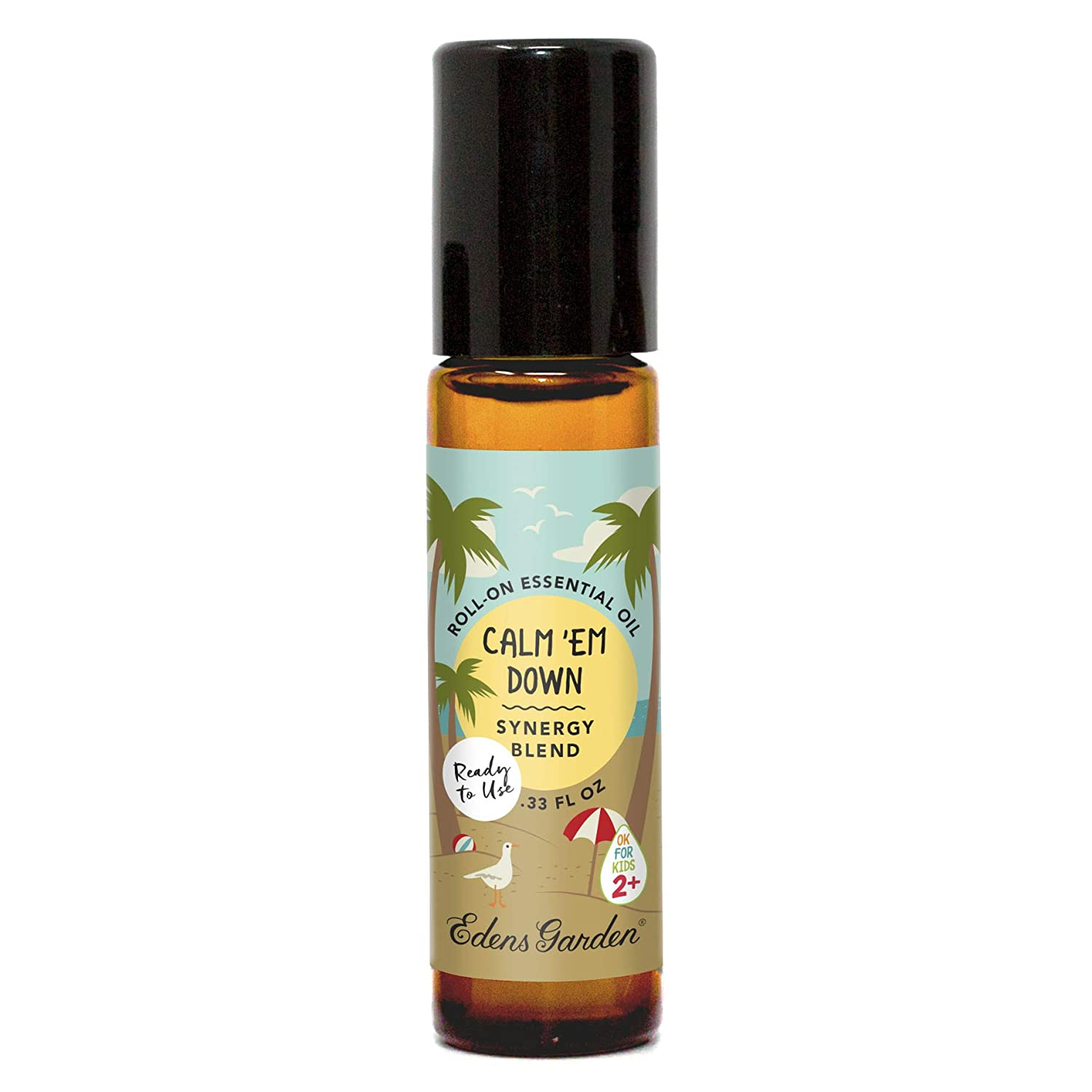 "Edens Garden Calm 'Em Down""OK For Kids"" Essential Oil Synergy Blend, 100% Pure Therapeutic Grade (Child Safe 2+, Pre-Diluted & Ready To Use- Anxiety & Stress), 10 ml Roll-On"
