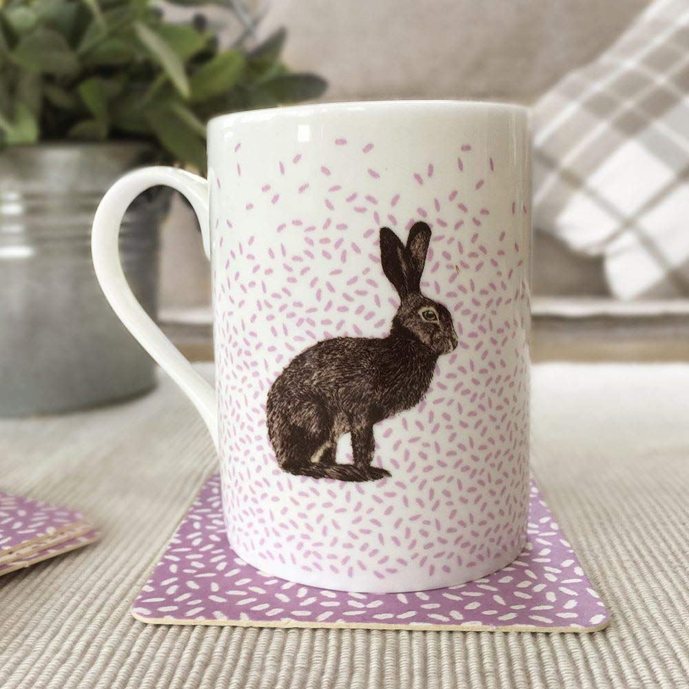Bone China Mug with Contemporary Illustrative Brown Hare Design