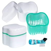 Scotte Denture Case,Dentures Box,Denture Brush Retainer Case,Denture Cups Bath,Dentures...