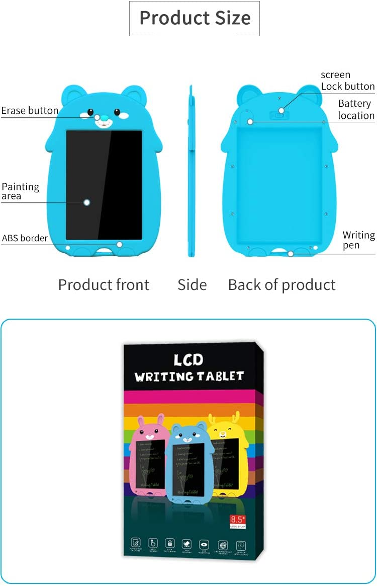 8.5-inch Drawing Tablet Electronic Doodle Pads Cartoon LCD Writing Tablet Doodle Board Preschool Learning Educational Hand Writing Pad. Cartoon Bear cub of Blue