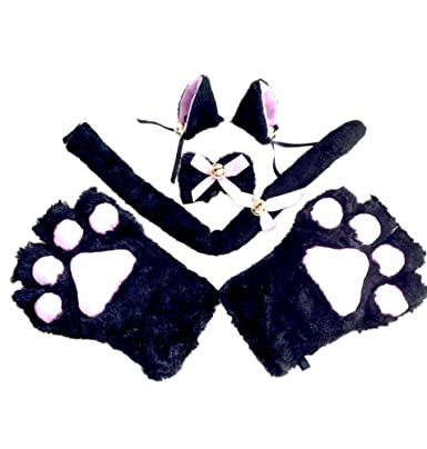 Tomwell 4 Pieces Anime Cosplay Costume Fancy Cat Ears Plush Paw Claw Gloves Tail Bow-  sc 1 st  Amazon UK & Tomwell 4 Pieces Anime Cosplay Costume Fancy Cat Ears Plush Paw Claw ...