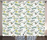 Ambesonne Steam Engine Curtains, Choo Choo Train Kids Boy Pattern Blue Green Number Plate Vintage, Living Room Bedroom Window Drapes 2 Panel Set, 108 W X 84 L Inches, Apple Green Turquoise