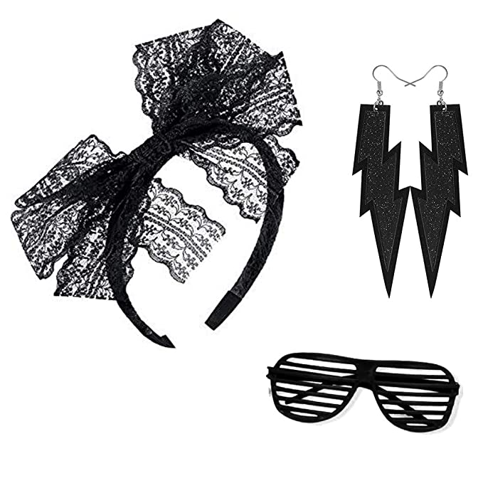 Lace Legging 80s Costume Set S, Style A Gloves Bracelet Earring Necklace for Party